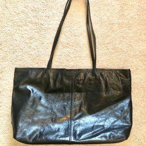 Latico Carmen Black Grain Leather Shopper Tote